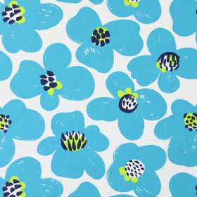 Maxi - Cobalt - Aqua blue flowers with roughly drawn white, lime green and navy blue centres on a white cotton fabric background