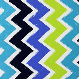 Ziggy - Cobalt - White cotton fabric printed with wide zigzags of aqua blue, bright blue, dark blue and lime green