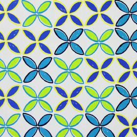 Pop - Cobalt - Simple leaf shapes printed in bright blue, aqua blue, dark blue and lime green on a white cotton fabric background