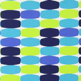 Humbug - Cobalt - Bulging rectangles in bright blue, aqua blue, navy blue and lime green, on a background of white cotton fabric