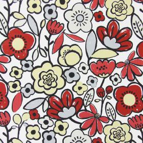 Betty - Red - Simple red, cream and grey flowers with thick black outlines on a white cotton fabric background