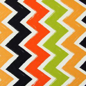 Ziggy - Tango - Cotton fabric in white, featuring a pattern of bright orange, apple green, light orange and black zigzags