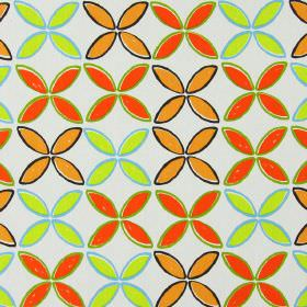Pop - Tango - Simple light orange, bright orange, lime green and aqua blue coloured leaf shapes on light grey cotton fabric