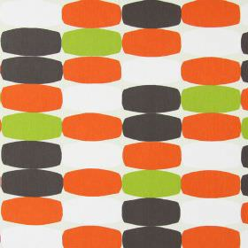 Humbug - Tango - Rectangles with convex edges in orange, white, green and dark grey, on a light grey fabric background made from cotton