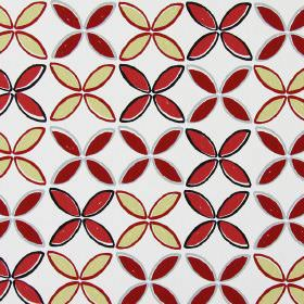 Pop - Red - Fabric made from white cotton, printed with simple leaf shapes in dusky red, cream, grey and black
