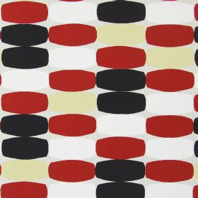 Humbug - Red - Cotton fabric in very pale grey, with a red, cream, white and black design of bulging rectangles