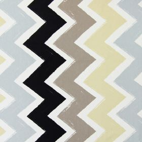 Ziggy - Pebble - Zigzags with a brush stroke effect in grey, cream, brown and black on a white cotton fabric background