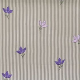 Lucy  - Lavender - Lavender purple tiny flowers on striped fabric