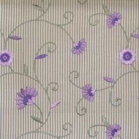 Nicole - Lavender - Lavender purple daisies stitched on striped fabric