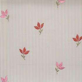 Lucy  - Rose - Rose pink tiny flowers on striped fabric