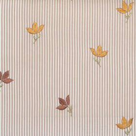 Lucy  - Antique - Antique orange tiny flowers on striped fabric