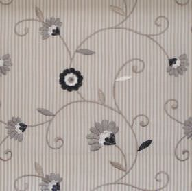 Nicole - Silver - Silver grey daisies stitched on striped fabric