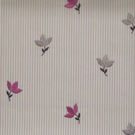 Lucy  - Damson - Damson purple tiny flowers on striped fabric