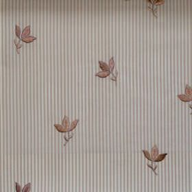 Lucy  - Honey - Honey brown/yellow tiny flowers on striped fabric