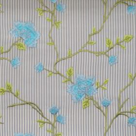 Henrietta - Azure - Azure blue stitched flowers on striped fabric