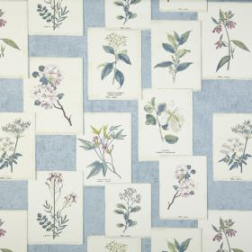 Journal - Chambray - Baby blue 100% cotton fabric printed with white rectangles featuring realistic floral pictures in other shades of blue