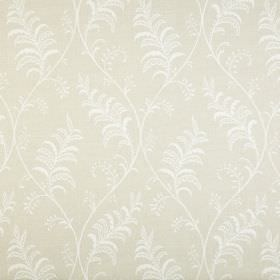 Albery - Linen - Pretty white leaves and gentle wavy lines printed on an oyster coloured 100% cotton fabric background