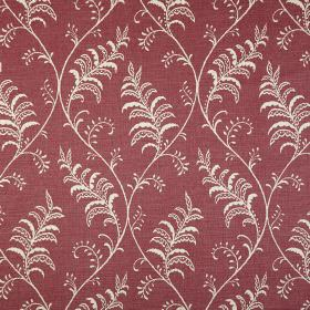 Albery - Vintage - Dusky red fabric made from 100% cotton, printed with a white design of gentle wavy lines and pretty patterned leaves