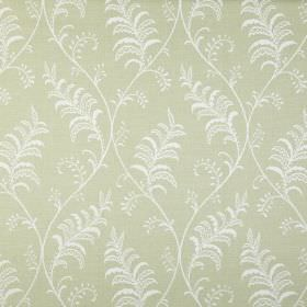 Albery - Acacia - Fabric made from pale green and white coloured 100% cotton, featuring a pretty pattern of leaves and gentle wavy lines