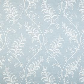 Albery - Chambray - 100% cotton fabric covered with a design of pretty, patterned leaves and gentle wavy lines in white and baby blue