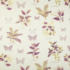 Botany - Vintage - Off-white coloured fabric made from 100% cotton, printed with purple and green designs of different leaves and butterflies
