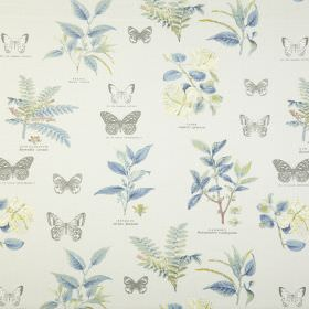 Botany - Chambray - Butterflies and leaves printed in pale shades of grey, blue and cream on a white background of 100% cotton fabric