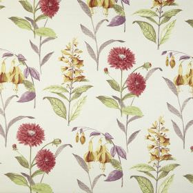 Bloomingdale - Vintage - 100% cotton fabric in white printed with golden yellow and red coloured flowers and leaves in light grey, green and p