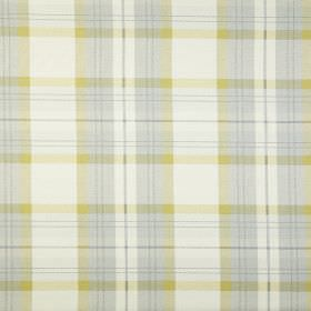 Munro - Chartreuse - 100% cotton fabric featuring a simple, cool checked design in white, apple green and pale blue-grey