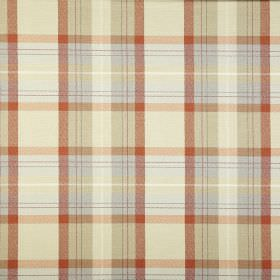 Munro - Seville - Very pale shades of yellow and blue combined with burnt orange to make a checked design on fabric made from 100% cotton