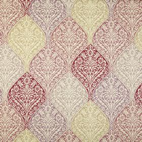 Bosworth - Vintage - Cream coloured 100% cotton fabric with repeated ornate, intricate designs in red, dusky pink, grey, light green and purpl