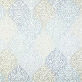 Bosworth - Chambray - A repeated, ornate, intricate pattern printed in different light shades of blue and grey on white 100% cotton fabric