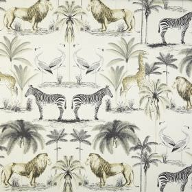 Longleat - Chartreuse - Safari themed 100% cotton fabric, printed with zebras, lions, giraffes, flamingos and trees in shades of grey and gr