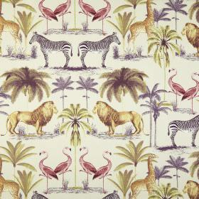 Longleat - Vintage - Gold, purple, red and grey lions, trees, zebras, giraffes and flamingos printed on a white 100% cotton fabric backgroun