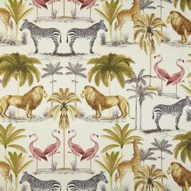 Longleat - Seville - Fabric made from white 100% cotton, patterned with lions, giraffes, flamingos, zebras & trees in gold, green, grey & re