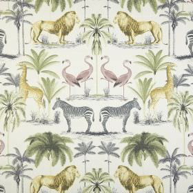 Longleat - Acacia - Light shades of yellow, green, pink and grey making up a safari themed pattern on white fabric made from 100% cotton