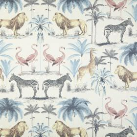 Longleat - Chambray - 100% cotton fabric covered with safari animals and trees in pastel blue, grey, pink and yellow on a white background
