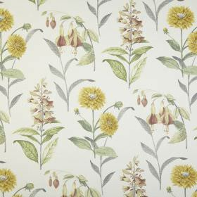 Bloomingdale - Acacia - Flowers and leaves of different species printed in various light shades of yellow and green on white 100% cotton fab