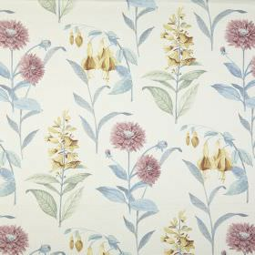 Bloomingdale - Chambray - Pastel blue, purple, green and yellow coloured flowers and leaves printed on a white 100% cotton fabric background