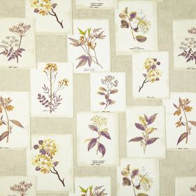 Journal - Vintage - Purple, orange and yellow designs of flowers printed on white rectangles and arranged on cream 100% cotton fabric