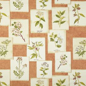 Journal - Seville - Fabric made from 100% cotton in a light terracotta colour, printed with white cards featuring green floral designs