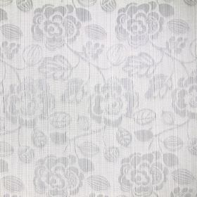 Stamford - Silver - Woven white cotton fabric featuring an almost imperceptible floral design