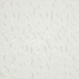 Carrington - Pearl - Cotton fabric in light grey, embroidered with a pattern of wiggling white lines