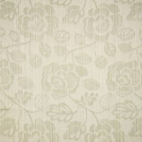 Stamford - Oyster - White cotton fabric with a subtle floral pattern, with subtle lines running through both the pattern and the background