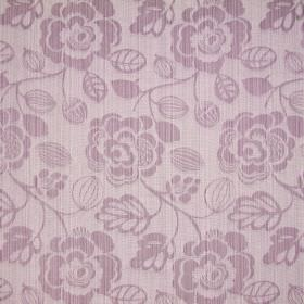 Stamford - Blush - Pink and white woven cotton fabric, featuring a floral pattern in pink and white stripes