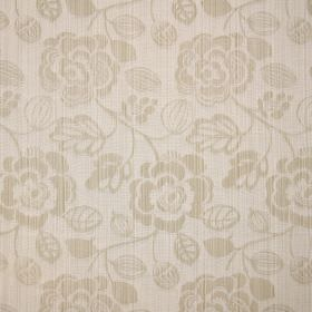 Stamford - Sand - Cotton fabric in light beige, patterned with a floral design, with subtle stripes running both ways through the fabric