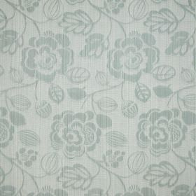 Stamford - Willow - A white and grey striped floral pattern on a cream coloured woven cotton fabric background