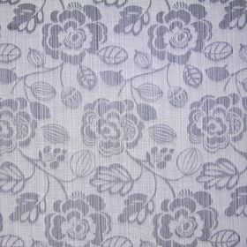 Stamford - Slate - Cotton fabric with grey florals on a cream background, where the weaving is visible through both