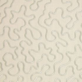 Carrington - Oyster - Shimmering, raised lines in light grey embroidered in a wiggling pattern over light grey cotton fabric