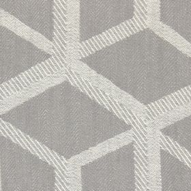 Mellora - Smoke - Smoke grey fabric with light grey lines creating a 3D cube effect