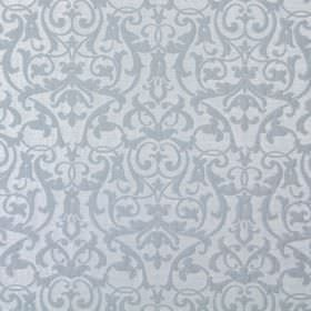 Bliss - Denim - Denim blue fabric with a classic baroque leaf and vine pattern